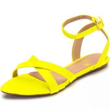 Imagem de Sandália Rasteira Aberta Tiras Em Napa Amarelo Neon Lançamento  feminino