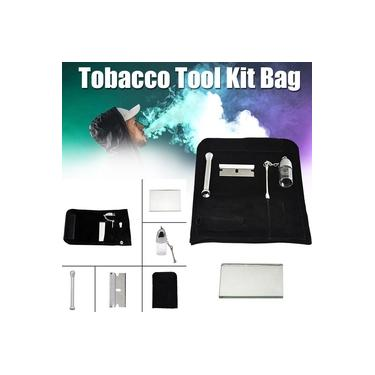 100% Couro Genuíno Bolsa de Tabaco Bolsa Snuff Snorter Ferramenta Sniffer Straw Hooter 5 Pcs Set