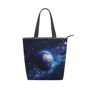 Bolsa feminina de lona durável Planeta Terra no espaço sideral, sacola de compras de grande capacidade