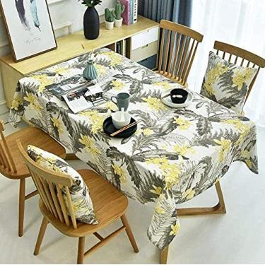 Imagem de Toalha de mesa lavável, impermeável, fácil de cuidar, toalha de mesa com estampa de plantas tropicais, listras, retangular, para mesa de jantar, folhas de banana amarela 140 x 240 cm