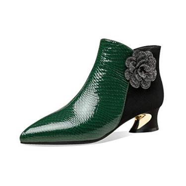Imagem de TinaCus Bota feminina feita à mão de couro legítimo e camurça bico fino com zíper confortável salto baixo grosso floral cano curto, Verde, 5.5