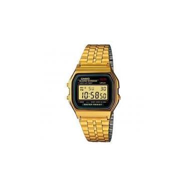 a3a0464f4e8 Relógio Unissex Digital Casio A159WGEA-1DF - Preto Dourado