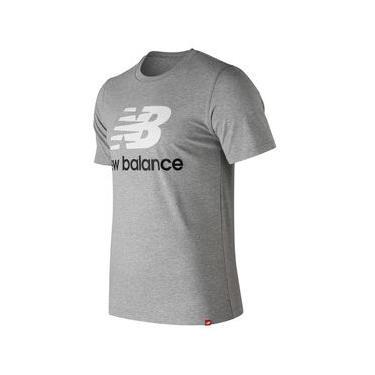 Camiseta de Manga Curta New Balance Logo Basic | Masculino Cinza - P