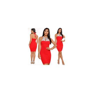 Strass Sexy Envoltório Vestido Backless Preto Vermelho Bodycon Verão Halter Vestido Night Club Mu