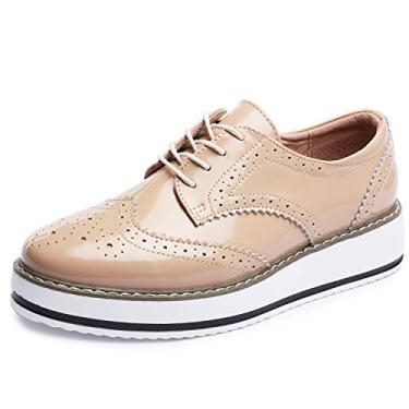 Sapatos femininos Catata Wingtip Wedges Oxfords Plataforma de cadarço Brogues Casamento, Apricot, 5