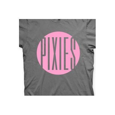 Camiseta Pixies Chumbo e Rosa em Silk 100% Algodão