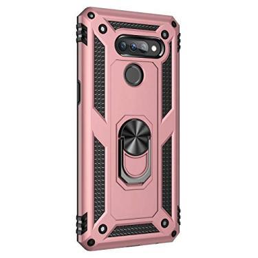 Hicaseer Capa para LG K50S, policarbonato + TPU antiqueda antichoque anti-arranhões magnético rotação de 360 graus capa completa para LG K50S – Ouro rosa