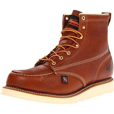 Thorogood Bota masculina American Heritage 15 cm Moc Toe, MÁXwear Wedge Safety Toe, Tobacco Oil-tanned, 14 Wide