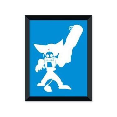Poster de Ratchet e Clank Azul Com Moldura - Branco