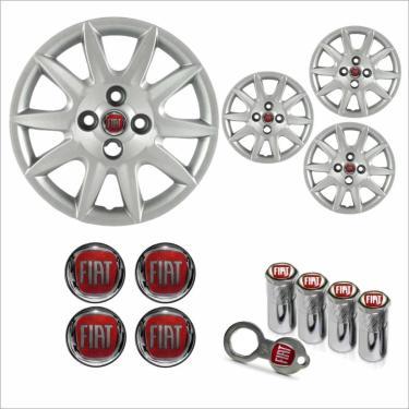 Jogo Calota Aro 14 Siena 2012 2013 Fiat + Emblema Resinado + Tampa Ventil Antifurto