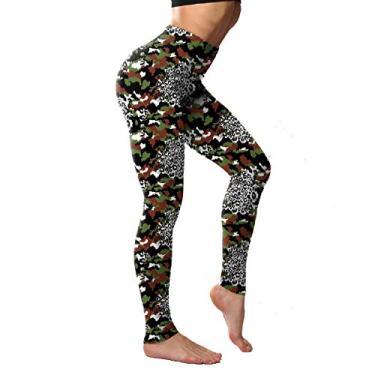 UUYUK Calça legging feminina elástica de cintura alta para ioga, One, X-Small