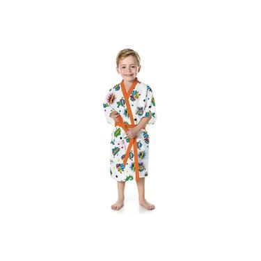 Roupão Felpudo Infantil Quimono Estampado Super Poderes P com 1 Peça - Lepper