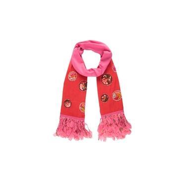 Echarpe Vermelha/Rosa Com Aplicação Em Viscose 180X50Cm