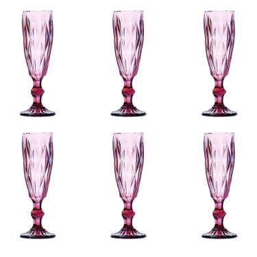 Jogo de taças champagne Class Home 6 peças lilás