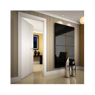 Kit Porta de Madeira Lisa para Drywall Primer 210cmx60cm Moldufama Esquerda Branco