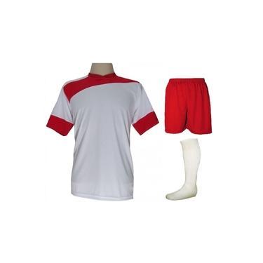 Uniforme Esportivo Completo modelo Sporting 14+1 (14 camisas Branco/Vermelho + 14 calções Madrid Vermelho + 14 pares de meiões Brancos + 1 conjunto de goleiro) +