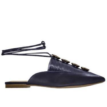 Mule Feminino Abelle Shoes Sem Salto Nadine Couro Marinho Tamanho:39;Cor:Azul