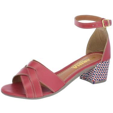 Sandalia Mariha Calçados Salto Bloco Trançada Vermelho  feminino