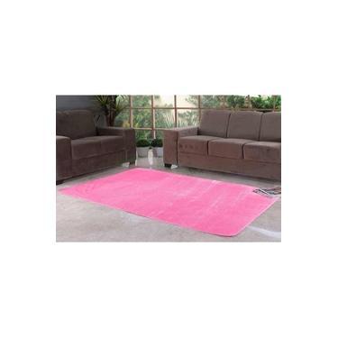 Tapete Liso para Quarto e Sala Tecido de Pelúcia 1,00m x 50cm - Rosa