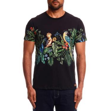 Colcci Camiseta Slim: Birds, XGG, Preto/Verde/Amarelo/Azul/Vermelho/Laranja/Roxo