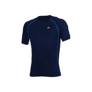 Camiseta de Manga Curta New Balance | Masculino Azul - P