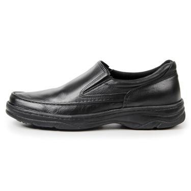 Sapato Social Couro Bergally Ortopédico Elástico Preto  masculino