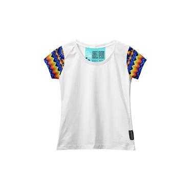 Camiseta Baby Look Feminina Manga Curta Algodão Estampa Moda Branco/Amarelo