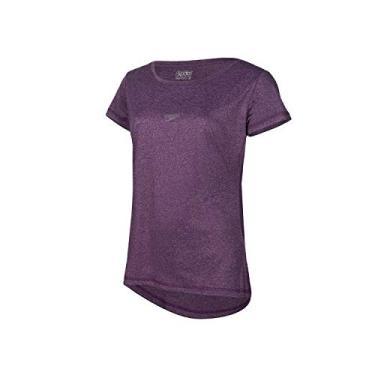 Speedo Blend Camiseta de Manga Curta, Mulheres, Roxo, M