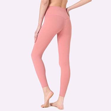 Calça legging feminina para ioga, academia, calça legging feminina de cintura alta para ioga, corrida, treino, rosa, M