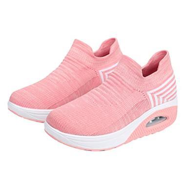 Imagem de Holibanna 1 par de sapatos de caminhada rosa feminino meia tênis de malha sem cadarço almofada de ar feminina moderna jazz dança fácil sapatos plataforma mocassins, rosa, 7