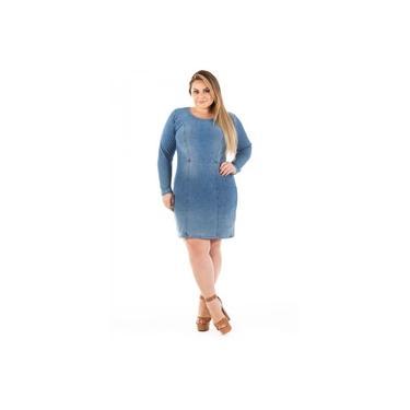 Vestido Jeans Tubinho com Elastano Plus Size
