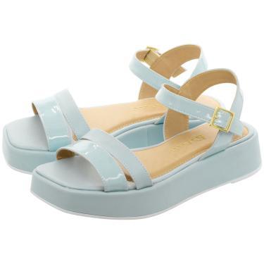 Sandália Plataforma Lallu Azul Bebê Bico Quadrado  feminino