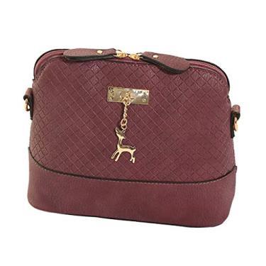 homozy Moda Senhora Menina Bolsa De Ombro De Couro Shell Design Crossbody Messenger Bag Tote - Vinho vermelho