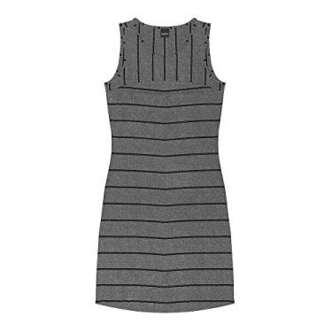 Vestido Curto Regata Visco Stripe Rovitex Cinza P