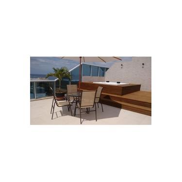 Mesa c/4 cadeiras para piscina varanda e jardim, alumínio com tela sling + Ombrelone Guarda sol