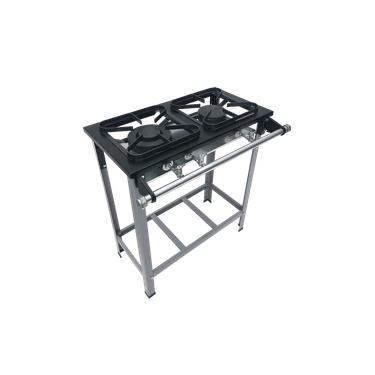 Fogao Industrial 2 Bocas M-6 M/m S2020 30X30 Perfil 5Cm Com Porta Panela - Metalmaq
