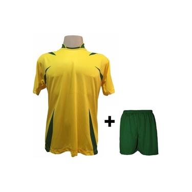 Uniforme Esportivo com 14 camisas modelo Palermo Amarelo/Verde + 14 calções modelo Madrid Verde +