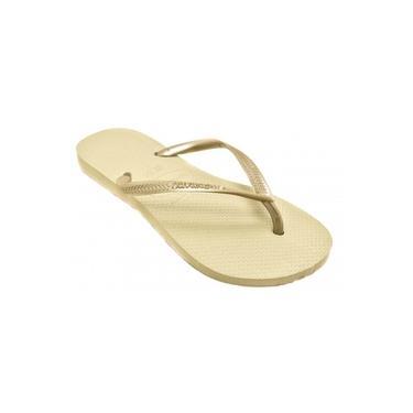 Chinelo Havaianas Feminino Slim Grade Areia-Dourado 4000030