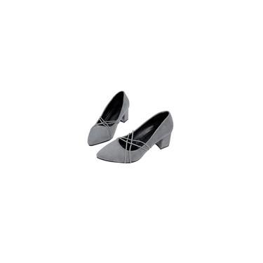 Sapatos femininos de salto médio de cor sólida e pontiaguda sapatos nus com salto quadrado