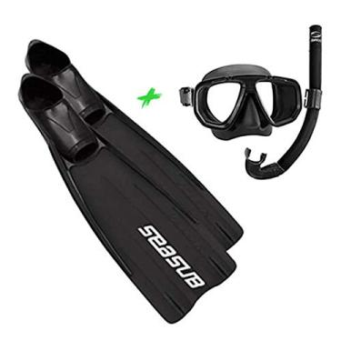 Kit de Mergulho Máscara + Snorkel + Nadadeira Premium Velox Seasub (36-37)