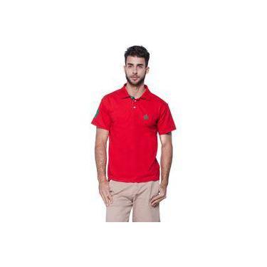 2e0a2e95efcb9 Polo Masculina Vermelha Com Detalhes Verde-Bandeira Otto