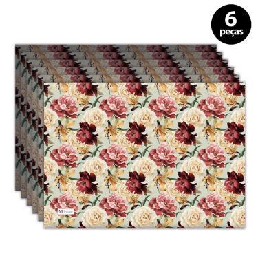 Imagem de Jogo Americano Mdecore Floral 40x28 cm Verde 6pçs