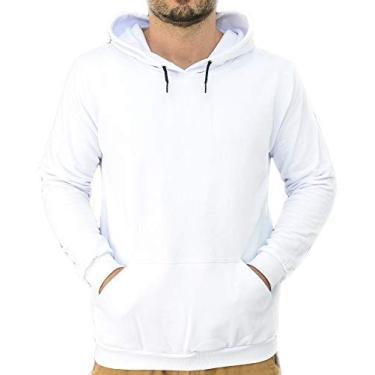 Moletom Masculino Liso Blusa de Frio Casaco Liso Canguru Cor:Preto;Tamanho:G;