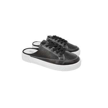 Mule Sapato Feminino Preto tipo Tênis com cadarço Sua Cia