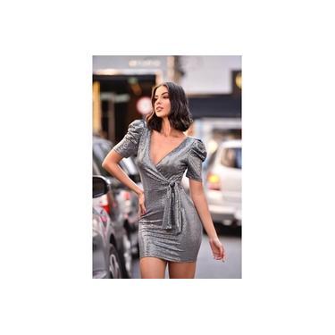 Vestido MissMisses transpassado com laço Prata 50291