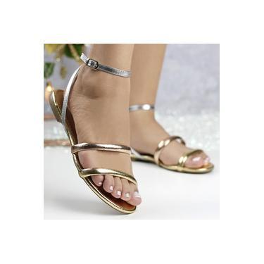 Sandalia Rasteira Off Line Gold/Champagne/Silver/Gold Feminino 5457-22113