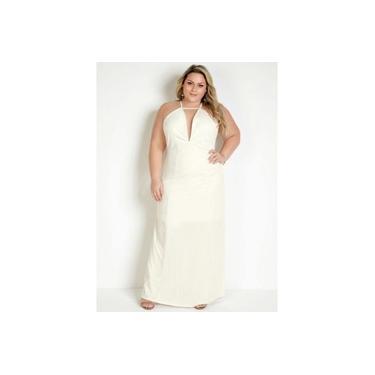 Vestido Longo Off White Soltinho Frente Única Plus Size