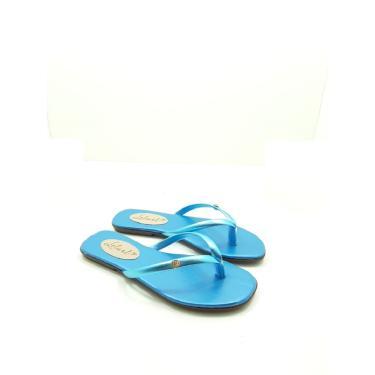 Imagem de Rasteira Leluel Dedo Azul Turquesa Metalizada  feminino