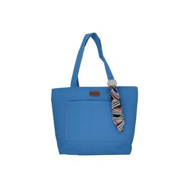 Bolsa Lulu com Lenço-Pompom Azul Turquesa - Fábio Maltez