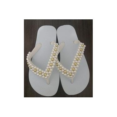 Chinelo customizado de perolas Bordado Branco e Dourado do 35/36